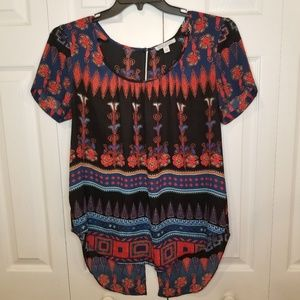 Patrons of Peace Large Open Back Aztec Boho Blouse